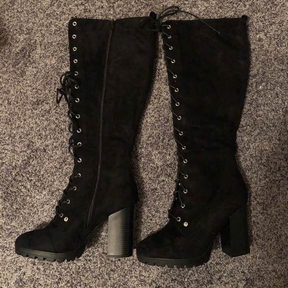 0ac90cd1f4cccf Charlotte Russe Black Lace Up Thigh High Boots